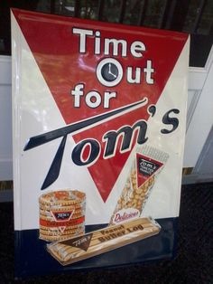 """Tom's Peanut Porcelain Sign (Vintage 1959 Grocery Store Sign, Peanut Butter Log, Toasted Peanuts, Cheese Crisp Crackers, """"Time Out for Tom's"""")"""