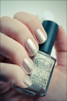 My ideal nails: nude with glitter tips... if only they were work appropriate.