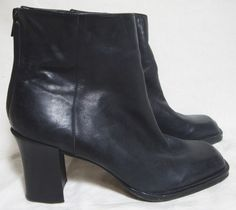 ENZO ANGIOLINI Black Leather Ankle Booties High Heel Back Zip Boots LUXE Women 8 #EnzoAngiolini #AnkleBoots