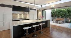 Construindo Minha Casa Clean: 30 Cozinhas Escuras com Pedras Brancas!