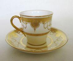 Mintons Tiffany  Co. Gold Gilt Fleur De Lis Tea Cup and Saucer