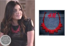Aria Montgomery (Lucy Hale) wears this pink red statement necklace with her leather cut out dress, in this week's episode of Pretty Little Liars. It is the H Coral Red Stones Spikes Tribal Statement Necklace. Sold Out. Pretty Little Liars Mode, Pretty Little Liars Fashion, Aria Style, Abc Family, Neck Piece, Cutout Dress, Season 4, Style Inspiration, Fashion Outfits