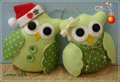 Feltro Fácil coruja corujinha de natal em feltro; owl felt christmas 1