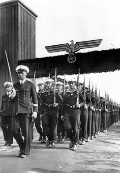 Stock Photo - Nuremberg Rally 1937 in Nuremberg, Germany - The Reich Labour Service (RAD) marches past Adolf Hitler (in the car) in front of the grandstand on Zeppelin Field at the Nazi Nuremberg Rally, Nuremberg Germany, Germany Ww2, Army History, European History, German Soldiers Ww2, German Army, Luftwaffe, Flak Tower