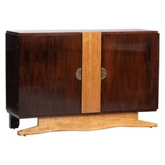 Art Deco French Rosewood and Sycamore Sideboard Wall Desk, Modern Sideboard, Metallic Paint, Chrome, Art Deco, Shelves, French, Furniture Storage, Antiques