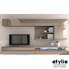 Meuble TV design laqué beige Maya LED ATYLIA Editions