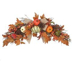 Celebrate Fall Together Artificial Pumpkin Swag Table Decor (79 RON) ❤ liked on Polyvore featuring home, home decor, holiday decorations, multicolor, fall home decor, autumn home decor, colorful home decor and pumpkin home decor