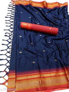 Sarees Hirkal Traditional Paithani Silk Sarees With Contrast Blouse Piece (Navy & Red)  Saree Fabric: Silk Blend Blouse: Separate Blouse Piece Blouse Fabric: Silk Blend Pattern: Woven Design Blouse Pattern: Woven Design Multipack: Single Sizes:  Free Size (Saree Length Size: 5.3 m, Blouse Length Size: 0.8 m)  Country of Origin: India Sizes Available: Free Size   Catalog Rating: ★4 (454)  Catalog Name: Aakarsha Fashionable Sarees CatalogID_2303917 C74-SC1004 Code: 006-13199493-4551