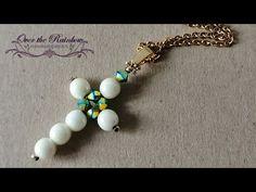 Tutorial croce con perle e bicono semplice e veloce - YouTube Diy Jewelry, Beaded Jewelry, Jewelry Making, Beaded Earrings, Beaded Bracelets, Beaded Cross, Cross Pendant, Chokers, Pendants