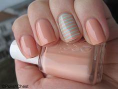 """I'm digging this simple accent nail done with Essie's """"A Crewed Interest"""" and """"Mint Candy Apple,"""" aka; A Crewed Minterest."""