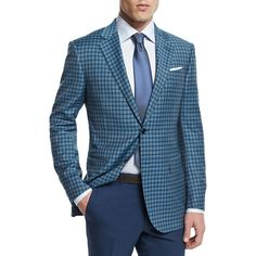 Ermenegildo Zegna Check Two-Button Wool Jacket (149.230 RUB) ❤ liked on Polyvore featuring men's fashion, men's clothing, men's outerwear, men's jackets, teal, mens wool jacket and mens wool outerwear