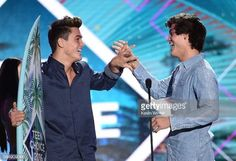 Gray and Ethan winning best male star YouTuber at the  TCA's
