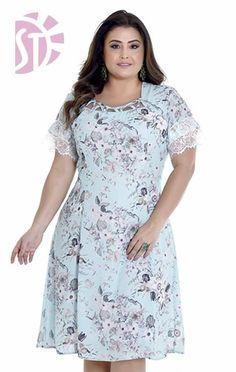 VESTIDO PLUS SIZE 10711 - Clássica Moda Evangélica Vestidos Plus Size, Plus Size Dresses, Plus Size Outfits, Dresses For Apple Shape, Girl Fashion, Fashion Outfits, Womens Fashion, Casual Dresses, Summer Dresses