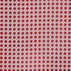 Poppy Red Geometric Stretch Cotton Woven
