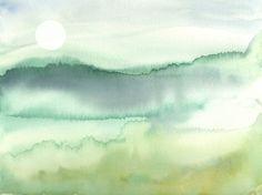 Paysage aquarelle Clair de lune du matin Soft par MarilynKJonas