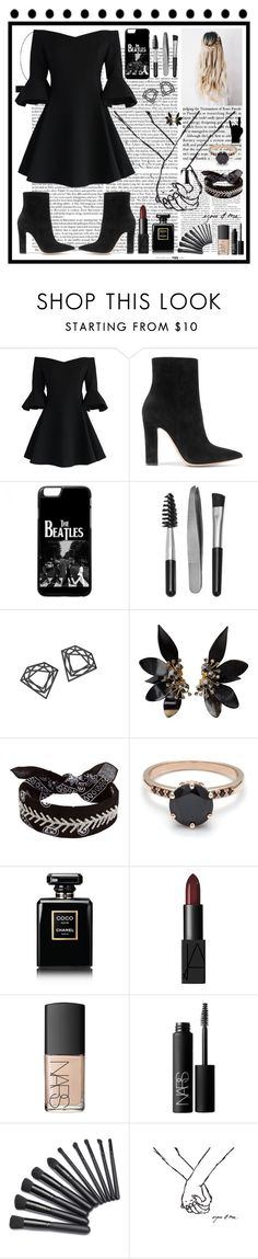 """""""Black beatles"""" by maddyb202 ❤ liked on Polyvore featuring Chicwish, Gianvito Rossi, Sephora Collection, Myia Bonner, Marni, Fallon, Chanel and NARS Cosmetics"""