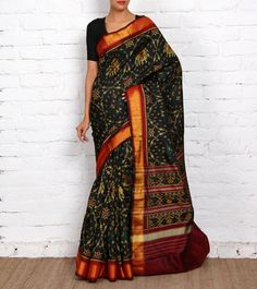 Black Pure Silk Patola Saree