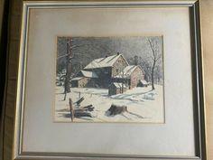 "Ralph D Dunkelberger (1884 -1965) ""Farmhouse In Winter Scene"" Lithograph -Framed Vintage Landscape, Winter Scenes, Vintage World Maps, Farmhouse, Frame, Painting, Art, Winter Scenery, Paint"
