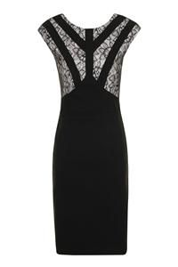 Paper Dolls Black Lace Detail Panel Sleeveless Bodycon Dress: Black