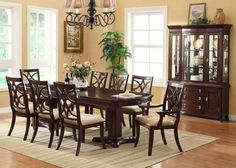 Marvelous Crown Mark 7 Pc Katherine Transitional Dining Room Set In Dark