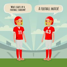 These funny football jokes for kids are sure to get a good chuckle. These clean jokes are appropriate for any age. Funny Jokes For Kids, Funny Puns, Hilarious, Football Jokes, Football Stadiums, Football Players, Funny Knock Knock Jokes, Halloween Quotes, Funny Halloween