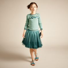Shiny Love Jumper - Aqua - Girls Knitwear - Girls 2-13YRS