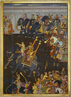 The Wedding procession of Prince Shah-Shuja' March Mughal Miniature Paintings, Mughal Paintings, Islamic Paintings, Islamic World, Islamic Art, Persian Pattern, History Of India, Mughal Empire, Byzantine Icons