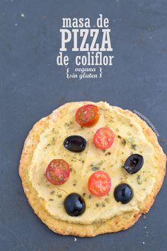 Masa de pizza de coliflor (vegana y sin gluten)