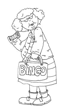 Granny wins big at bingo. Coloring Pages To Print, Coloring Book Pages, Digital Stamps Free, Art Impressions Stamps, Hand Embroidery Patterns, Ribbon Embroidery, Machine Embroidery, Embroidery Designs, Digi Stamps