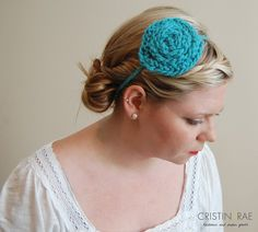 5d5c2aabcf Items similar to SALE    Skinny Posie Headband in Teal    Adult Blue Flower     Poppy Knitted Headband    Free shipping on Etsy