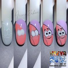 Disney Acrylic Nails, Best Acrylic Nails, Nail Art Hacks, Nail Art Diy, Shellac Nail Art, Nail Manicure, Jolie Nail Art, Nail Art Designs Videos, Cartoon Nail Designs
