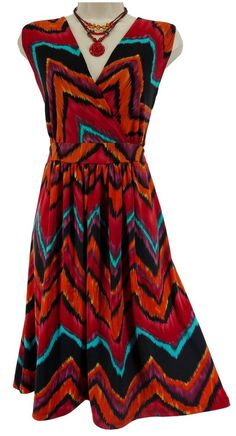 1X 16 XXL SEXY Womens ABSTRACT CHEVRON SUMMER DRESS Spring Day/Evening PLUS SIZE #KateMalloryDesigns #FauxWrap #Versatile