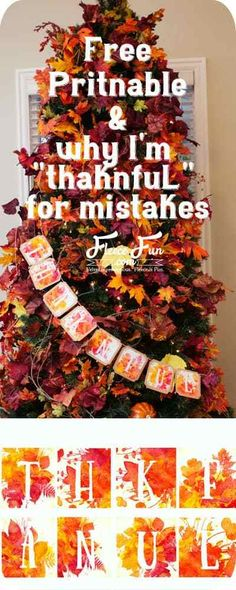 I love her story about being thankful for mistakes! I can't believe she left her picture with the misspelling. Cute free thanksgiving printable too. Would look great on my mantle. Free Thanksgiving Printables, Thanksgiving Banner, Thanksgiving Gifts, Thanksgiving Decorations, Thanksgiving Projects, Party Printables, Free Printables, Free Printable Banner, Creative Crafts