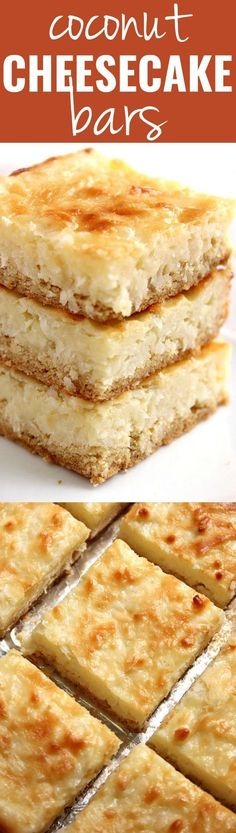 Coconut Cheesecake Bars recipe - the best coconut cheesecake bars I have ever had! They are sweet, creamy, coconut-y. The no graham cracker crust is a must try. (no bake desserts cheesecake) Coconut Cheesecake Bars Recipe, Coconut Recipes, Cheesecake Recipes, Baking Recipes, Cookie Recipes, Bar Recipes, Coconut Bars, Lemon Cheesecake, Recipies