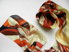 Hand painted autumn  silk scarf . Red orange by ArmeniaOnSilk
