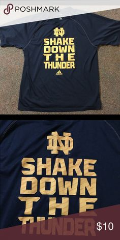 "Adidas Men's Dark Blue Notre Dame Dri-Fit T-Shirt Dark blue ""Shake Down the Thunder"" Adidas dri-fit T shirt 🎉💞 Save 25% when you bundle 2 items 💞🎉 Adidas Shirts Tees - Short Sleeve"