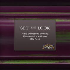 """Get the Look:  Make a statement with this duo!  Layer GF Evening Plum Milk Paint over Lime Green.  For some expert tips on distressing watch GF's video """"How to Hand Distress GF Milk Paint"""" http://youtu.be/DQilIHtFxpY"""
