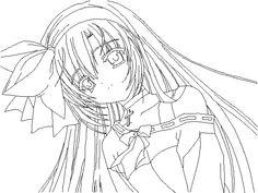 anime kimono girl line art sketch coloring page | coloring pages ... - Anime Girl Coloring Pages Print