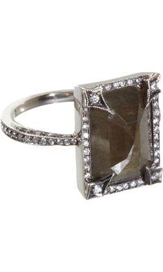 Cathy Waterman Black & White Diamond Frame Ring