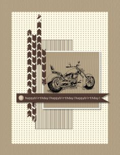 Stampin' Up! masculine birthday cards (better done in blacks and blues or blacks and orange for Harley Davidson)
