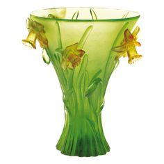 Daum Daffodil Vase - Daum was a crystal studio based in Nancy, France.  It was founded in 1878 by Jean Daum (1825-1885)