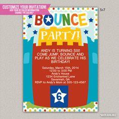 Bounce House Kids Birthday Invitation - Custom Invitation - DIGITAL -  DIY Printable Invitation on Etsy, $15.00