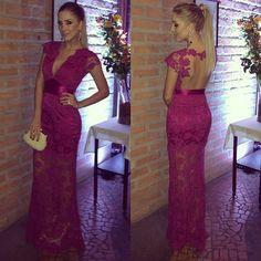 See Through Charming Floor-Length Appliques Lace Prom Dress 2017 Straight Short Sleeve Prom Dresses Vestidos De Festa