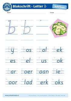 Blokletter b in woorden - Junior Einstein - Oefen het schrijven van de letter b in woorden. Je hebt de letter b nu al vaak en goed geoefend. Probeer hem nu netjes tussen andere letters te schrijven. Kijk goed naar de voorbeelden. Tip: bekijk ook de andere blokletters goed. Die kun je ook allemaal nog oefenen!