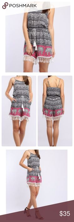 JUST IN: Elephant Print Romper NWT 100% cotton. Elephant print romper. Spaghetti straps. Drawstring waist. Tassel fringe on shorts.  2 side pockets. Straps are adjustable.  Please see last pic for size chart. Dresses Mini