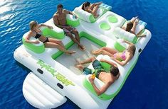 """Top 20 Best Inflatable Floating Island Reviews 2015"" -- I never even knew there was such a thing (let alone that I need one!), but this reviews 20 of the best. Shown: ""Tropical Tahiti Inflatable 6-Person Pool Raft Floating Island"""
