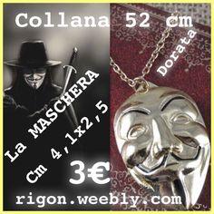 COLLANA LA MASCHERA V FOR VENDETTA GUY FAWKES - ANONYMOUS - 3 EURO - DORATA