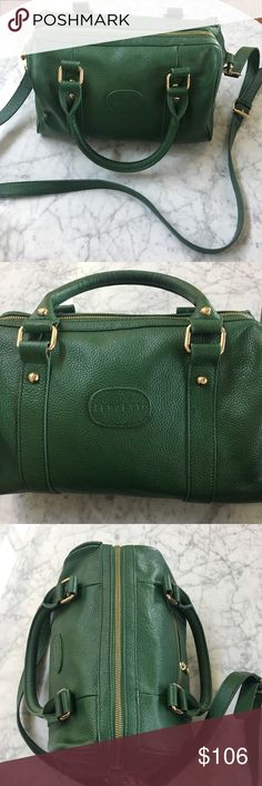 Terzetto Green Pebble Italian Leather Handbag Amazing shape with one trim piece starting to pop out.   Check photos closely.   Bag has been used but is in great shape.  Crossbody strap included. Terzetto Bags Crossbody Bags
