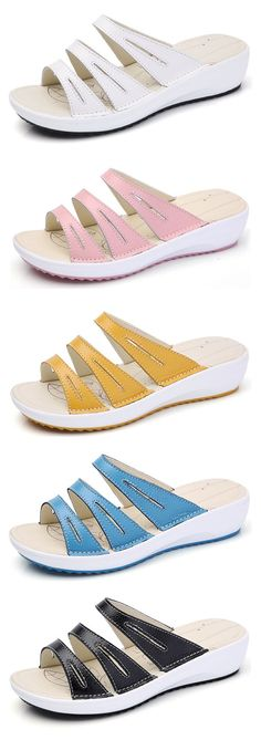92351a45f9324 Candy Color Leather Slip On Beach Flat Platform Sandals For Women is  comfortable to wear. Shop on NewChic to see other cheap women sandals on  sale.