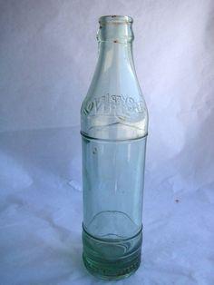 6fddaae6dbbf  22.95 VTG Cloverleaf Bottle IPC Triangle Mark Clear Blown Glass Soda Milk  Unique Rare